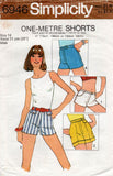 Simplicity 6946 Womens ONE YARD Short Shorts 1970s Vintage Sewing Pattern Size 12 or 14