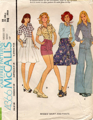 McCall's 4366 70s pants shorts skirt