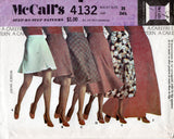 McCall's 4132 Womens Bias Skirts in 6 Lengths Mini Midi Maxi 1970s Vintage Sewing Pattern Size 10 Waist 25 Inches UNCUT Factory Folded