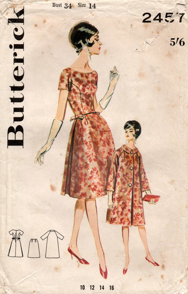 butterick 2457 60s dress and coat