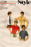 Style 1226 Mens Retro Shirts 1970s Vintage Sewing Pattern Chest 36 or 38 inches