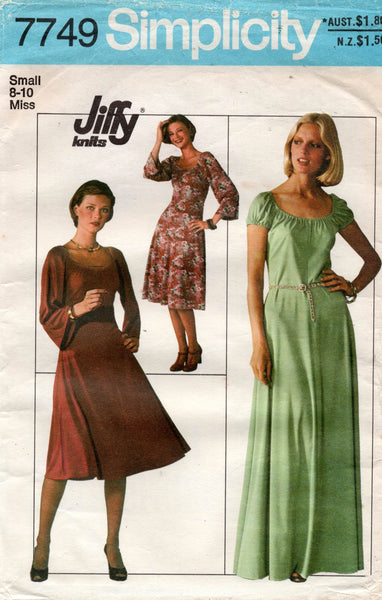 simplicity 7749 70s stretch jiffy dress