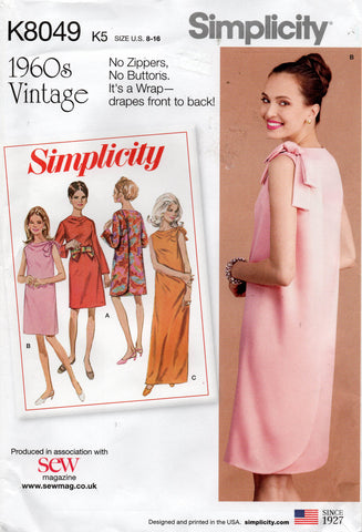 Simplicity K8049 Womens Back Wrap Dress with Shoulder Bow Reissued 1960s Sewing Pattern Size 8 - 16 UNCUT Factory Folded