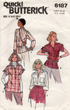 Butterick 6187 Womens Gathered Shoulder Blouse 1980s Vintage Sewing Pattern Size 12