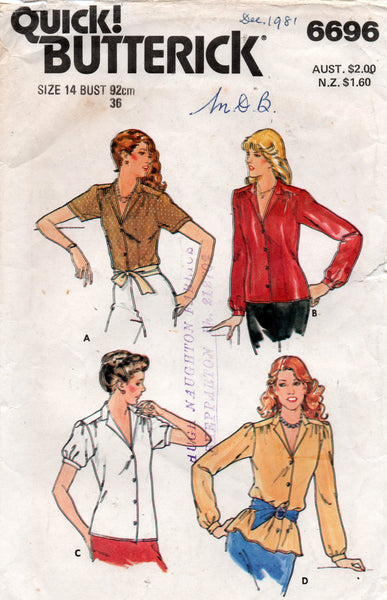 butterick 6696 80s blouse