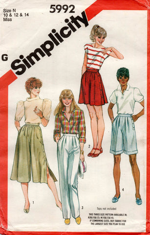 simplicity 5992 pants and culottes 80s