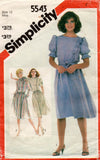 Simplicity 5543 Womens Side Ruffled Dress 1980s Vintage Sewing Pattern Size 12 Bust 34 inches