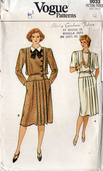 Vogue 9033 Womens Asymmetric Dress with Pleated Skirt 1980s Vintage Sewing Pattern Size 12 UNCUT Factory Folded