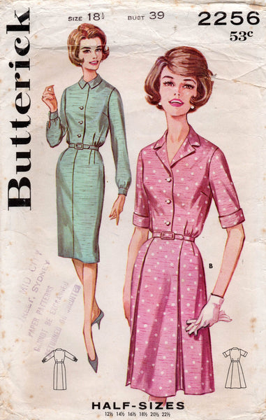 butterick 2256 half size dress 60s