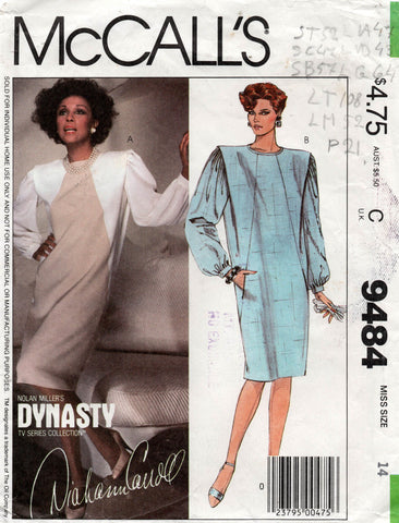 McCall's 9484 80s dynasty dress