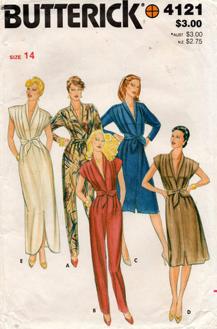 butterick 4121 80s dress and jumpsuit