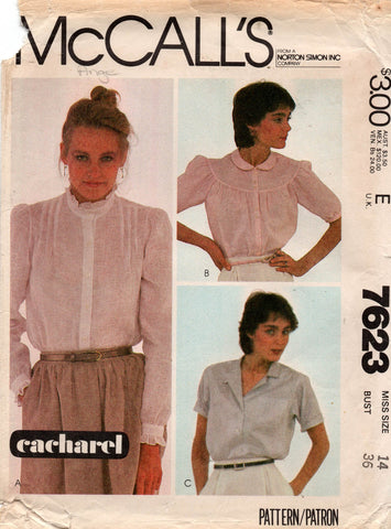McCall's 7623 Cacharel 80s blouses