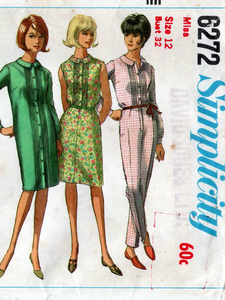 Simplicity 6272 60s dress top skirt pants