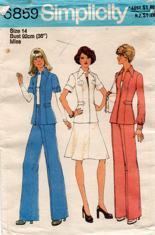 simplicity 6859 70s skirt pants jacket