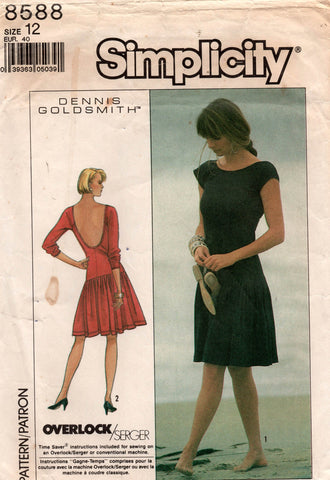 simplicity 8588 dennis goldsmith 80s dress