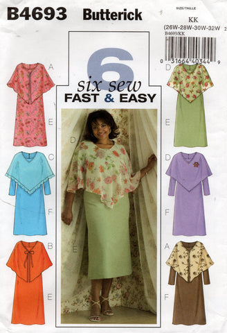 butterick 4693 plus size dress poncho