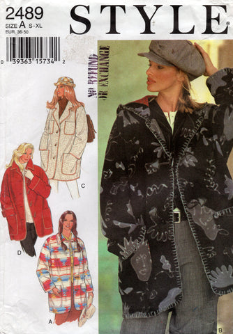 Style 2489 Womens Overcoat or Jacket with Hood 1990s Vintage Sewing Pattern Size S - XL UNCUT Factory Folded