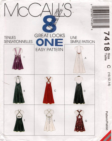 McCall's 7418 90s low back dress