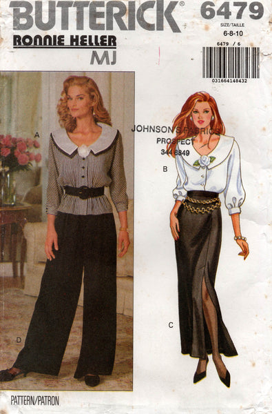 butterick 6479 90s ronnie heller top skirt and pants