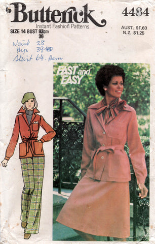 butterick 4484 70s jacket skirt and pants