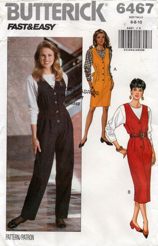 butterick 6467 90s jumpsuit jumper and top