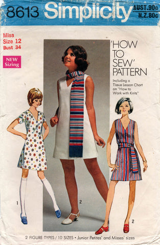 Simplicity 8613 Womens V Neck Mini Shift Dress & Scarf 1960s Vintage Sewing Pattern Size 12 Bust 34 inches