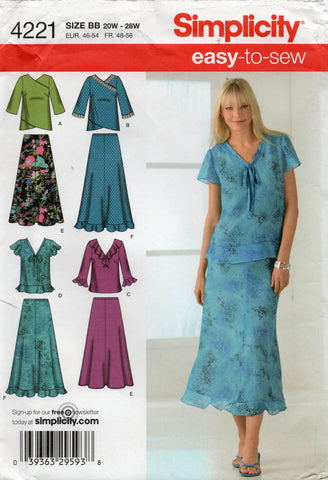 simplicity 4221 plus size tops and skirts oop