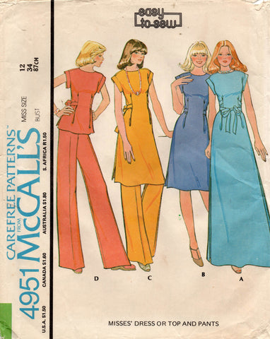 McCall's 4951 70s dress top and pants