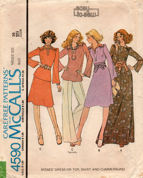 McCall's 4590 70s dress top skirt