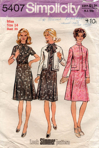 simplicity 5407 70s dress and jacket