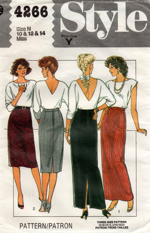 Style 4266 Womens Straight Skirts 1980s Vintage Sewing Pattern Sizes 10 - 14