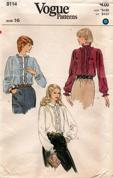 vogue 8114 80s ruffled blouses