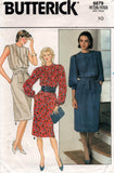 Butterick 6679 Womens Pullover Tuck Front Dress 1980s Vintage Sewing Pattern Size 10 Bust 32 1/2 inches