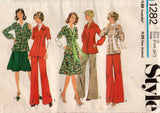 Style 1282 Womens Tunic Top Skirt & Pants 1970s Vintage Sewing Pattern Size 12 Bust 34 Inches