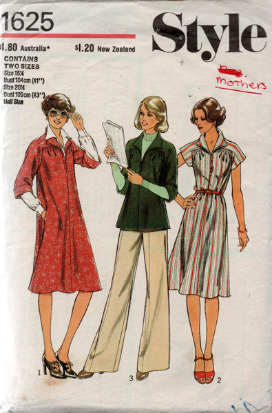 Style 1625 Womens Half Sized Tent Dress or Top 1970s Vintage Sewing Pattern MULTIPLE SIZES Available
