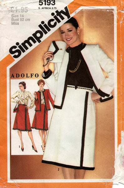 simplicity 5193 adolfo suit with blouse and bag 80s