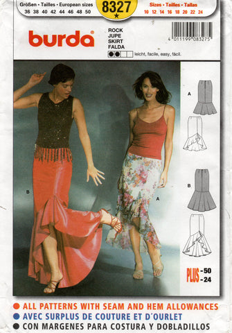 burda 8327 flamenco skirt oop