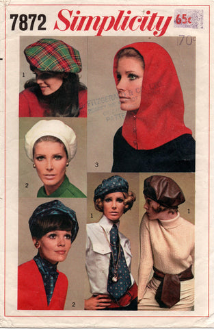 simplicity 7872 hats 60s