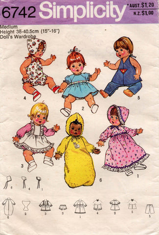 simplicity 6742 baby doll clothes 70s