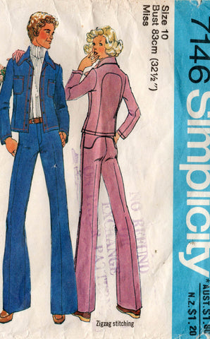 simplicity 7146 70s jeans and jacket