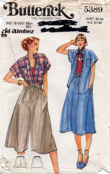 butterick 5389 gil aimbez top and skirt and culottes