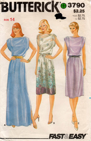 butterick 3790 80s dress