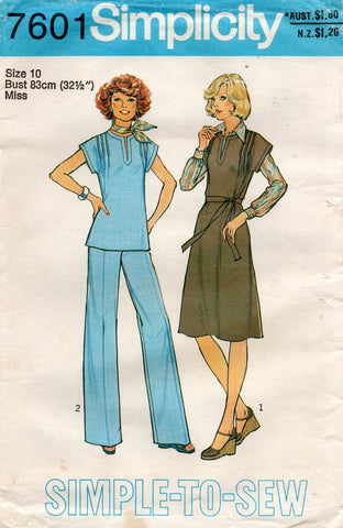 simplicity 7601 70s top dress and pants