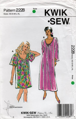 Kwik Sew 2228 Womens Stretch Pullover Nightgowns 1990s Vintage Sewing Pattern Size XS - XL UNCUT Factory Folded
