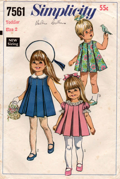 simplicity 7561 toddlers dress 60s