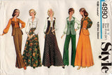 Style 4990 Womens Boho Vest Blouse Maxi Skirt & Flared Pants 1970s Vintage Sewing Pattern Size 12 Bust 34 inches