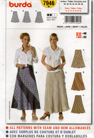 Burda 7946 Womens Swirl Maxi Skirts OOP Sewing Pattern Sizes 10 - 22 UNCUT Factory Folds
