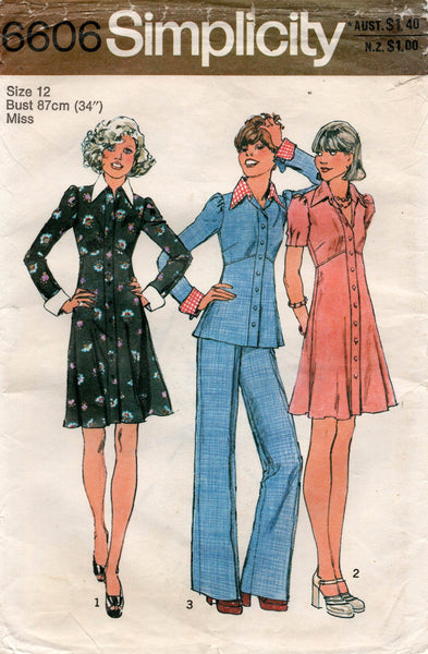 simplicity 6606 70s top dress pants