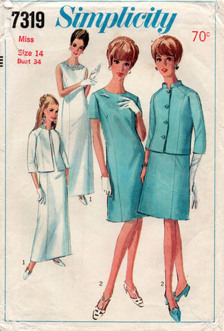 simplicity 7319 60s dress and jacket