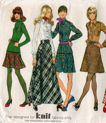 simplicity 5196 70s skirt top shirt